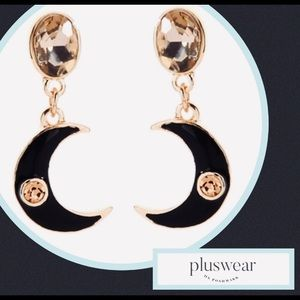 NWT Crescent Moon Earrings Gold/Black/Crystal